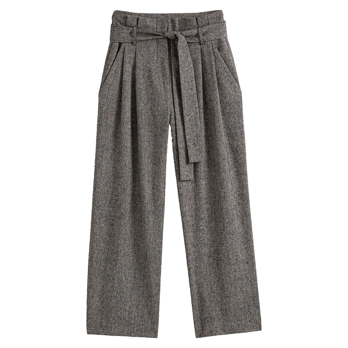 Calças largas em tweed, cintura subida, com cinto