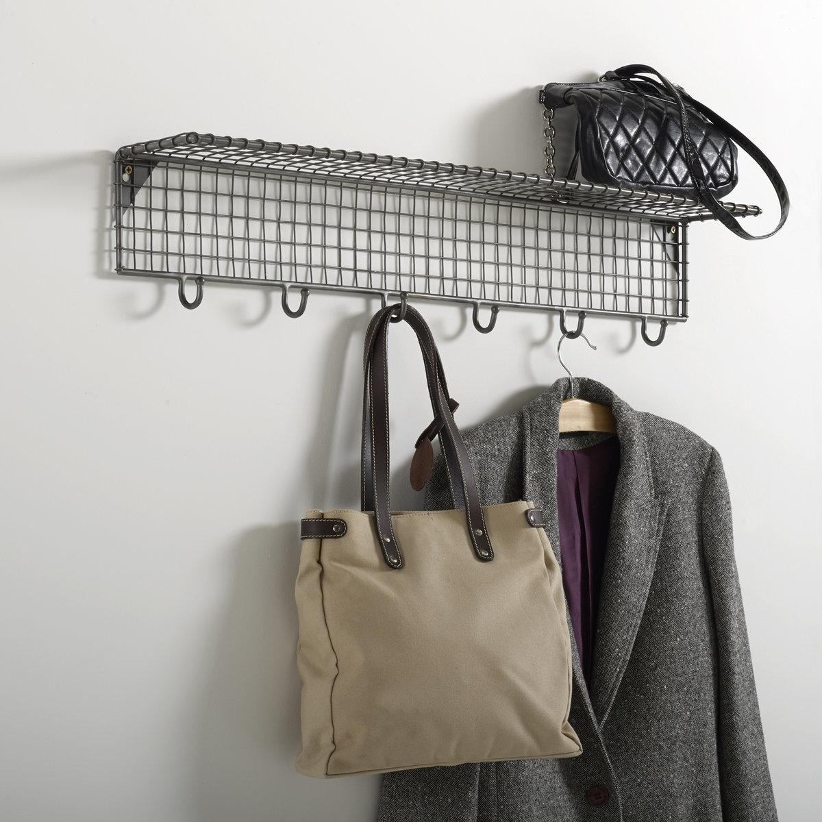 Этажерка La Redoute Настенная из металла с крючками AREGLO единый размер серый этажерка из решетчатого металла и массива мангового дереваareglo