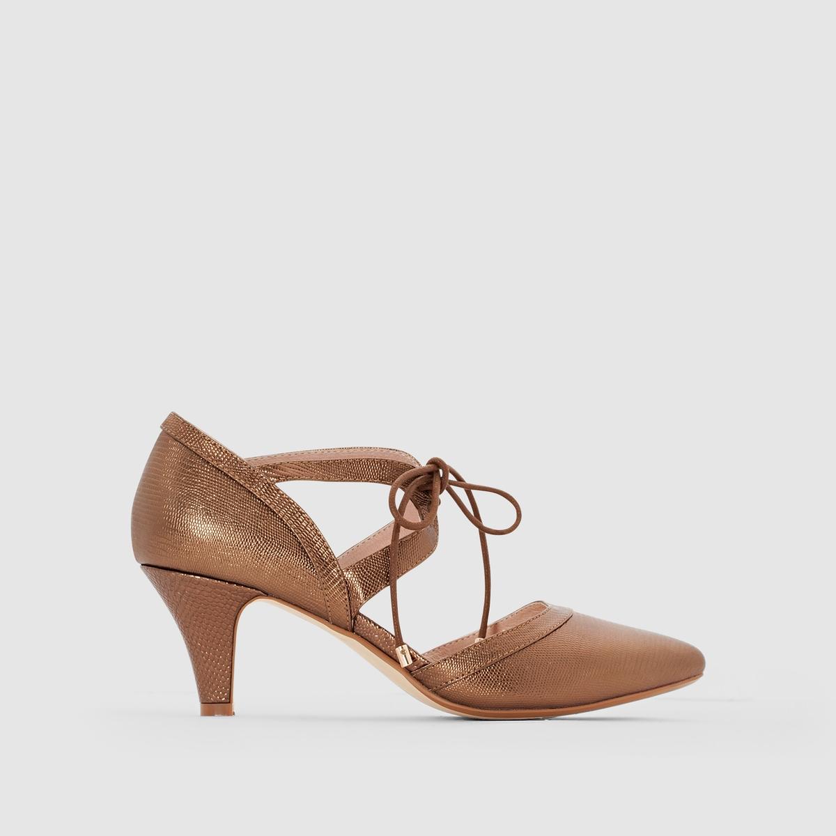 Туфли с металлическим отливом из кожиТуфли Anne Weyburn, на шнуровке.Верх : лакированная кожаПодкладка : кожа Стелька : кожа на пористой основеПодошва : из эластомераВысота каблука : 8 см<br><br>Цвет: золотисто-каштановый<br>Размер: 35.37