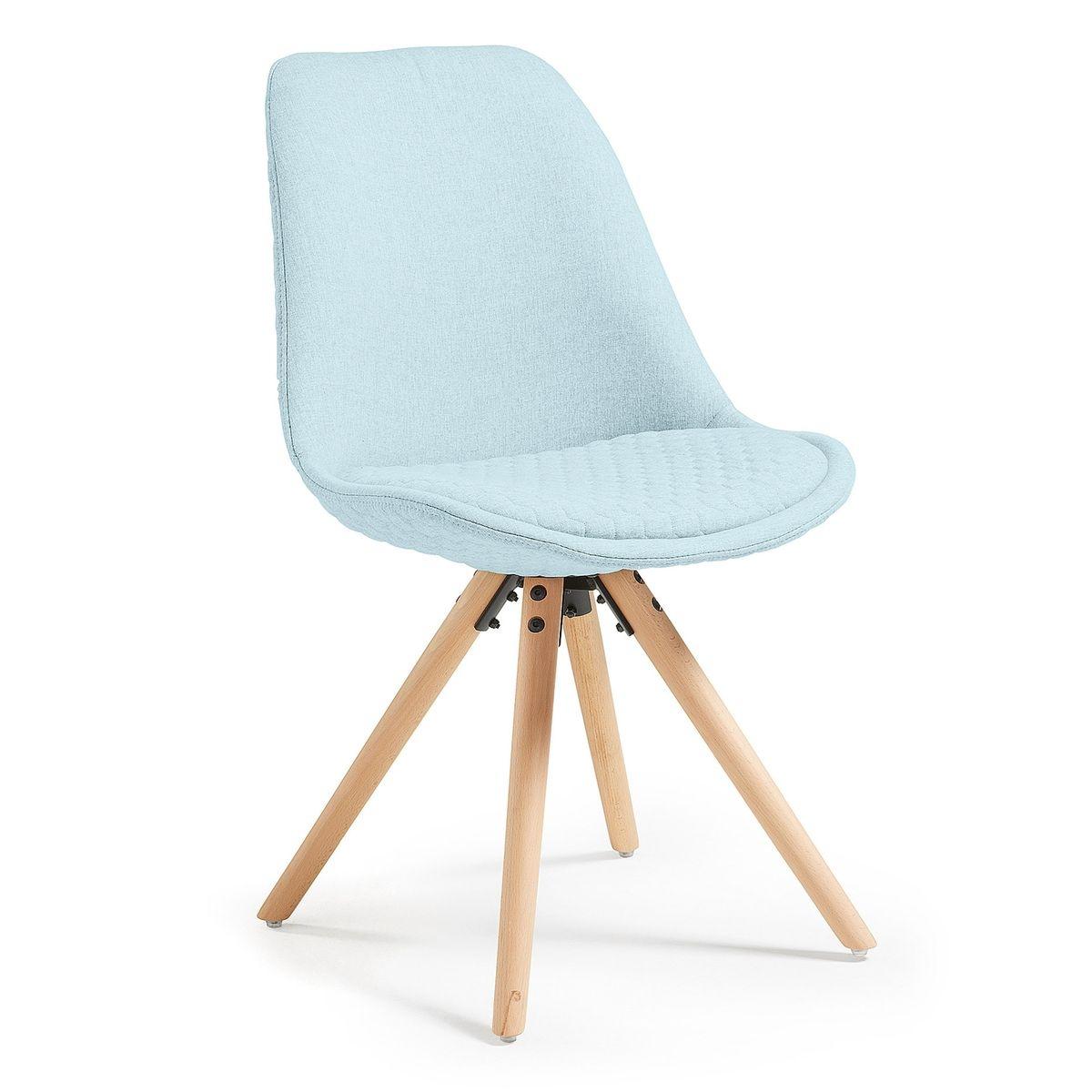 Chaise Ralf, naturel et tissu bleu clair