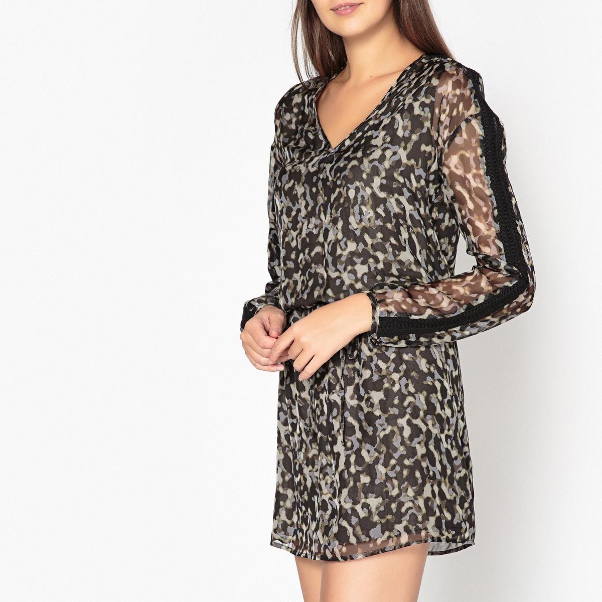 Платье короткое с длинными рукавами из вуали