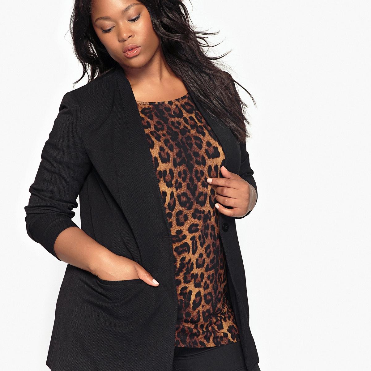 Жакет приталенныйОчень элегантный жакет можно одевать при выходах в свет или носить каждый день с леггинсами. Жакет черного цвета - основной предмет женского гардероба.Детали  •  Блейзер •  Приталенный покрой •  Длина : удлиненная модель •  Воротник-поло, рубашечныйСостав и уход  •  30% вискозы, 3% эластана, 67% полиэстера •  Подкладка : 100% полиэстер •  Стирать при 30° на деликатном режиме  •  Сухая чистка и отбеливание запрещены   •  Не использовать барабанную сушку  •  Низкая температура глажки Товар из коллекции больших размеров<br><br>Цвет: черный<br>Размер: 54 (FR) - 60 (RUS).46 (FR) - 52 (RUS)