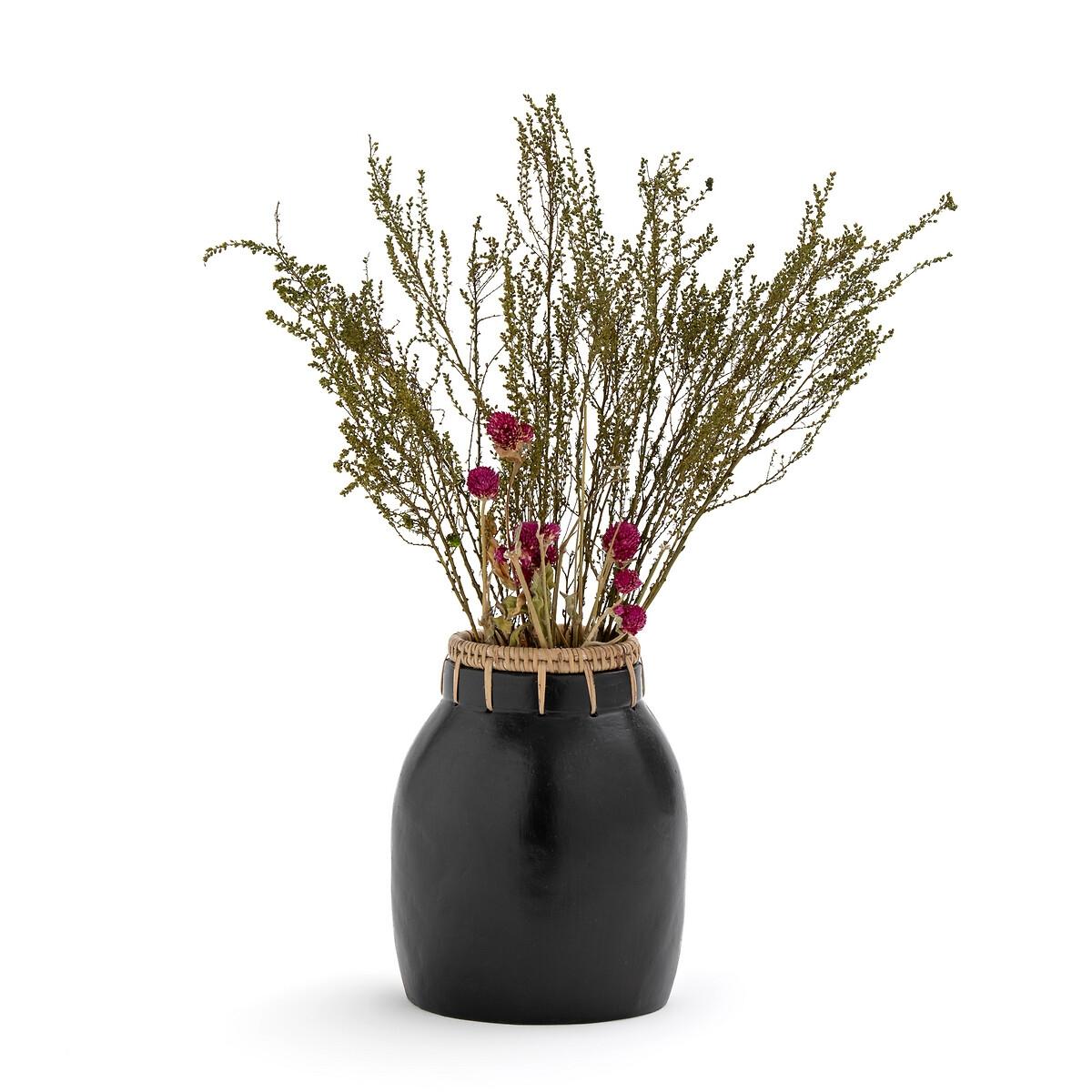 Ваза La Redoute Декоративная из керамики и ротанга В205 см Kuro единый размер черный