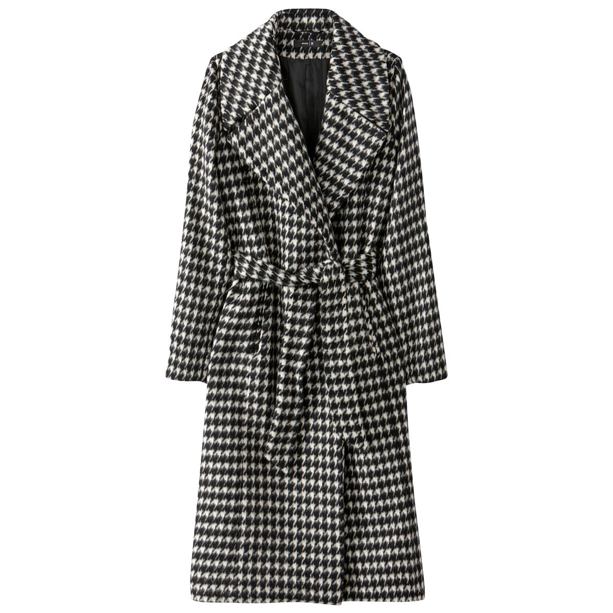 Пальто длинное в клеткуОписание:элегантное пальто с драповым эффектом идеально для осени и весны. Пиджачный воротник и 2 кармана. Длинное пальто с поясом.Детали •  Длина : удлиненная модель •  Воротник пиджачный •  Рисунок гусиная лапка •  Застежка на кнопкиСостав и уход •  20% шерсть, 35% полиэстер, 35% акрил, 10% - других волокон. •  Подкладка : 100% полиэстер •  Следуйте рекомендациям по уходу, указанным на этикетке изделия •  Длина : 112 см<br><br>Цвет: узор куриная лапка<br>Размер: 50 (FR) - 56 (RUS).48 (FR) - 54 (RUS).42 (FR) - 48 (RUS).44 (FR) - 50 (RUS)