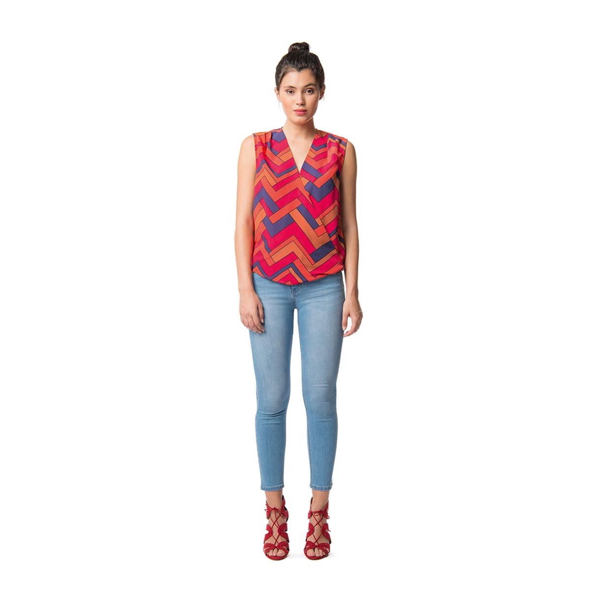Блузка с V-образным вырезом и графическим рисунком, без рукавов блузка quelle b c best connections by heine 6498