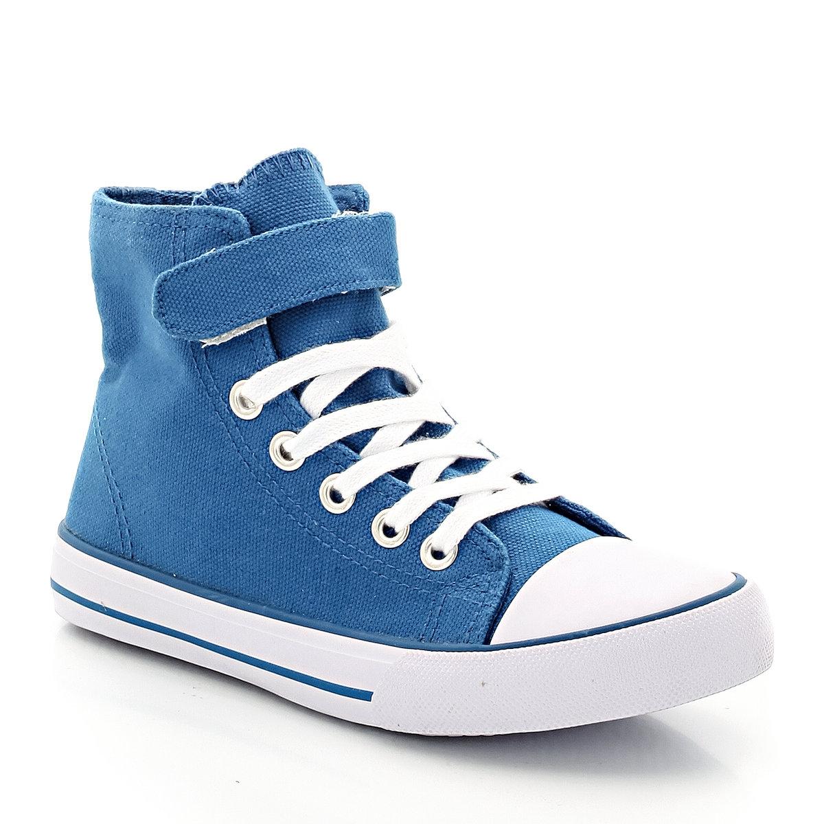 Кеды высокиеНеоспоримые плюсы : удобная застежка с планками-велкро придется по вкусу юным модникам.<br><br>Цвет: синий