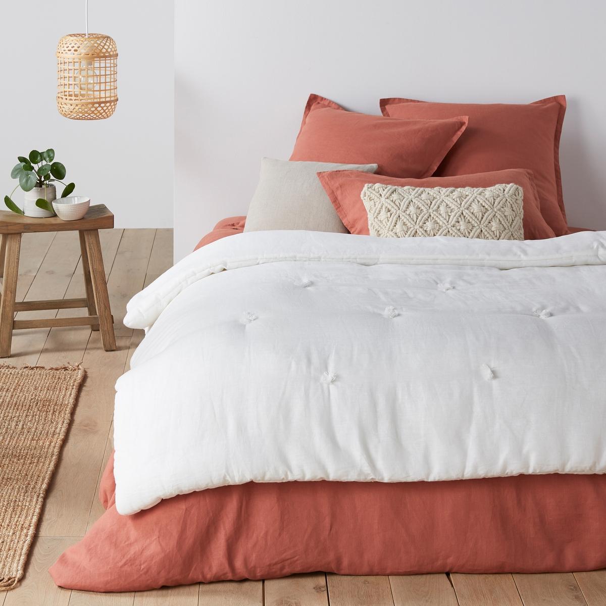цена Одеяло La Redoute Из осветленного льна Abella 90 x 190 см белый онлайн в 2017 году