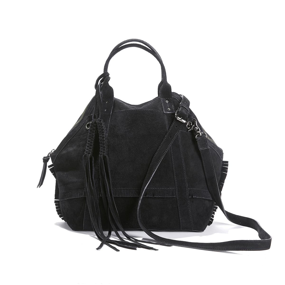 Сумка из невыделанной кожи с кисточками и бахромой сумка из невыделанной кожи