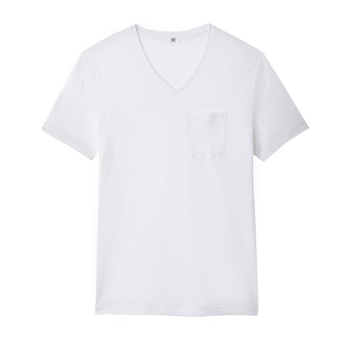 T-shirt com decote em V, em linho