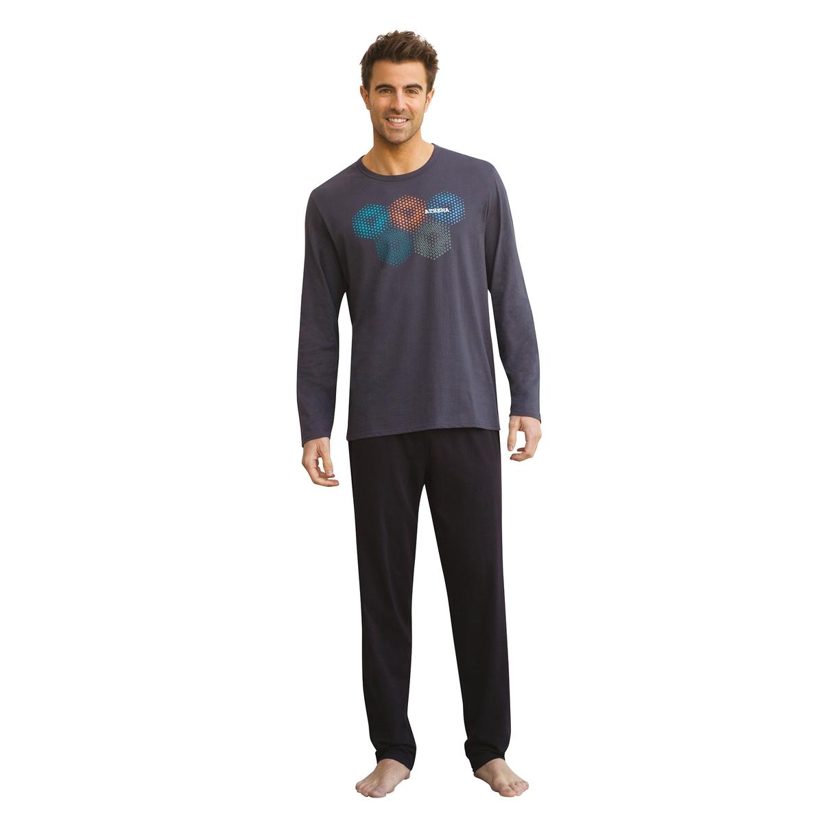 Пижама длинная из хлопка с круглым вырезом, HEXAGONE