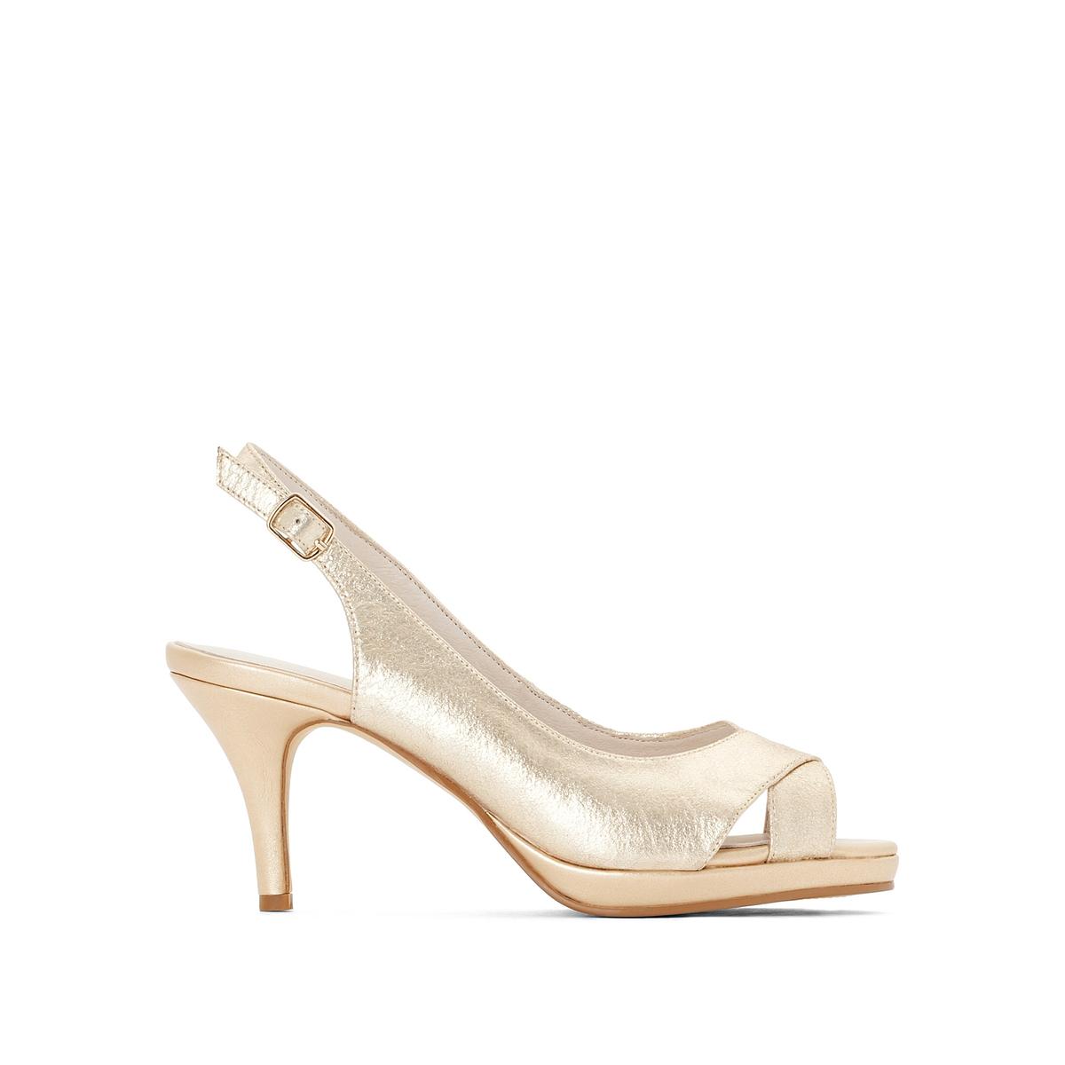 Туфли кожаныеОписание:Детали  •  Широкий каблук •  Застежка : без застежки •  Открытый мысокСостав и уход  •  Верх 100% кожа<br><br>Цвет: золотистый<br>Размер: 38.39