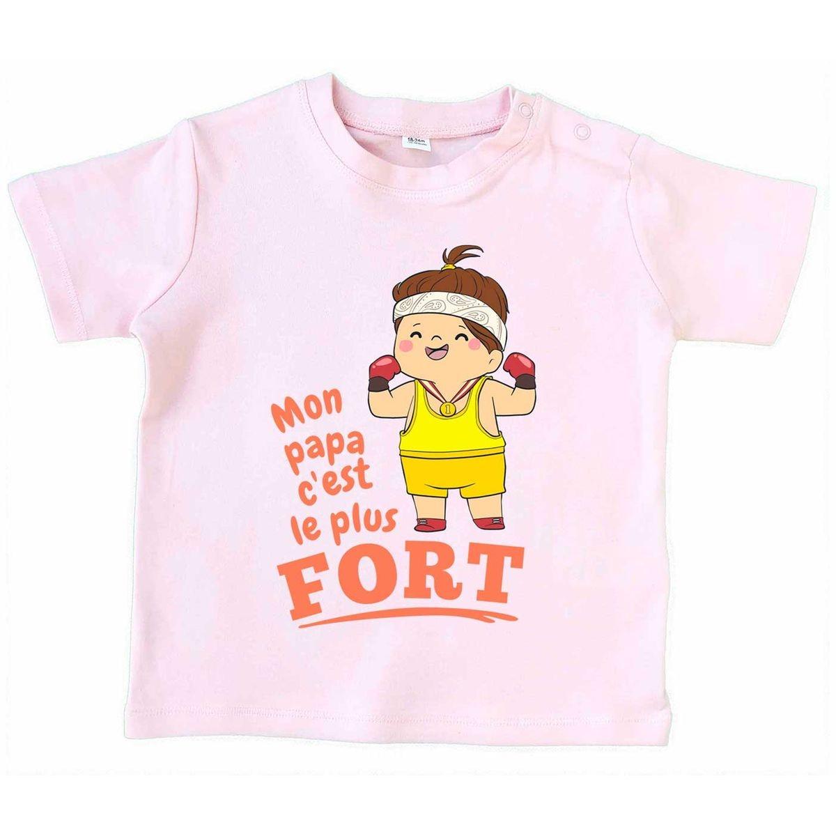 T-shirt Bébé Mon Papa C'est Le Plus Fort