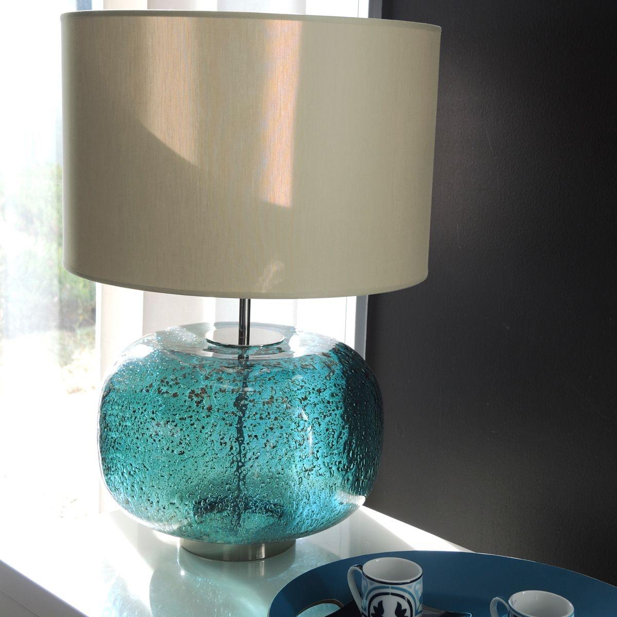 lampe en verre bleu avec abat-jour 55cm - derby bleu canard bruno evrard