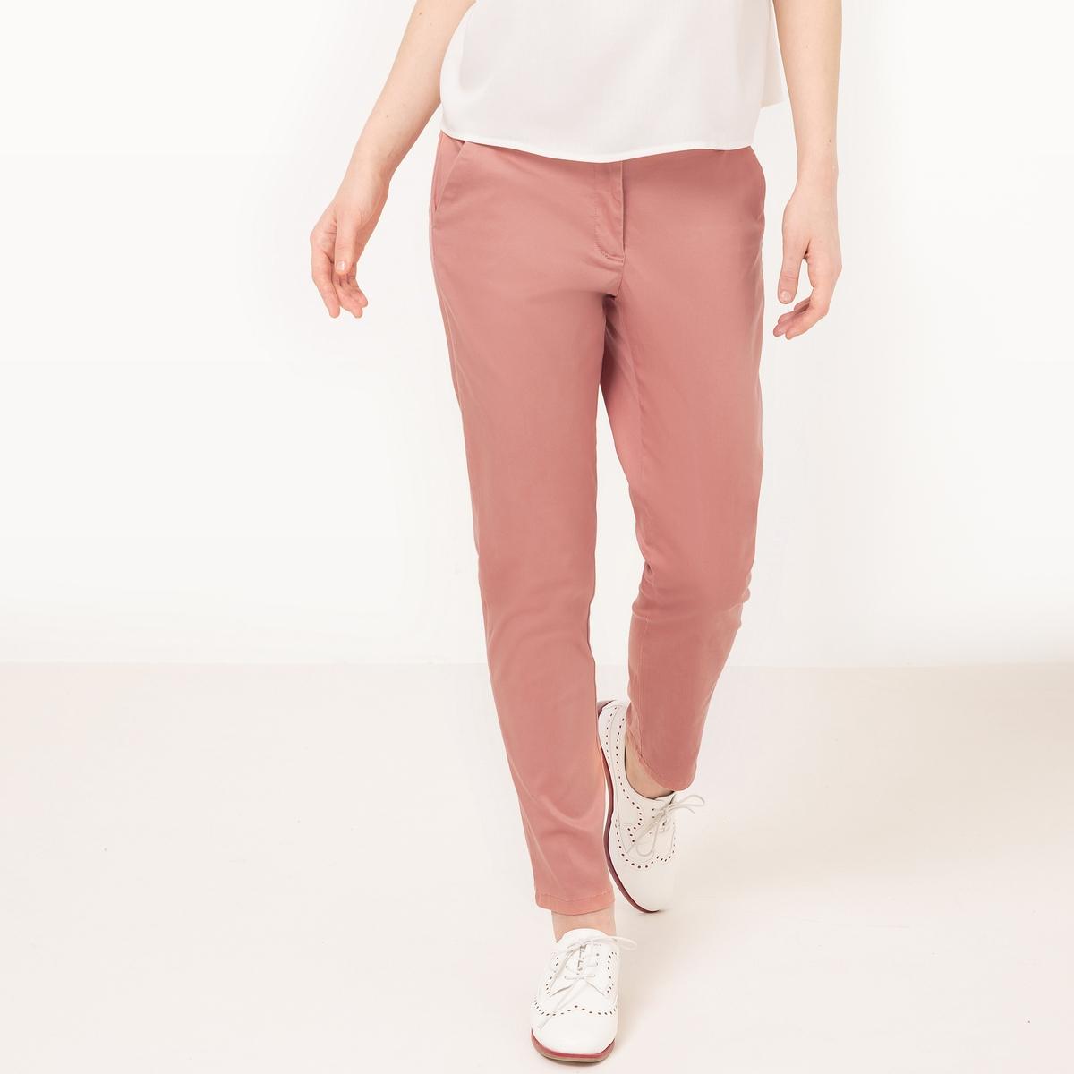 Брюки-чиноМатериал : 40% хлопка, 2% эластана, 58% лиоцелла Рисунок : однотонная модель  Высота пояса : стандартная Покрой брюк : прямой покрой<br><br>Цвет: розовый