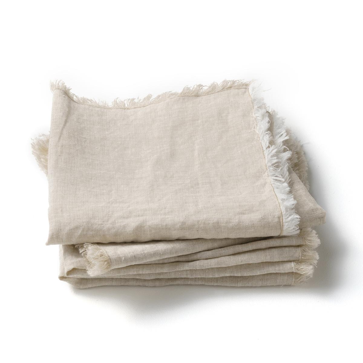 4 столовых салфетки из стиранного льна, Yastigi4 столовых салфетки Yastigi . Они сочетают натуральную мягкость стиранного льна и изысканность отделки бахромой .Материал :- 100% стираный лен Отделка :- Бахрома с 4 сторон .Размеры :- 40 x 40 см<br><br>Цвет: серый<br>Размер: комплект из 4