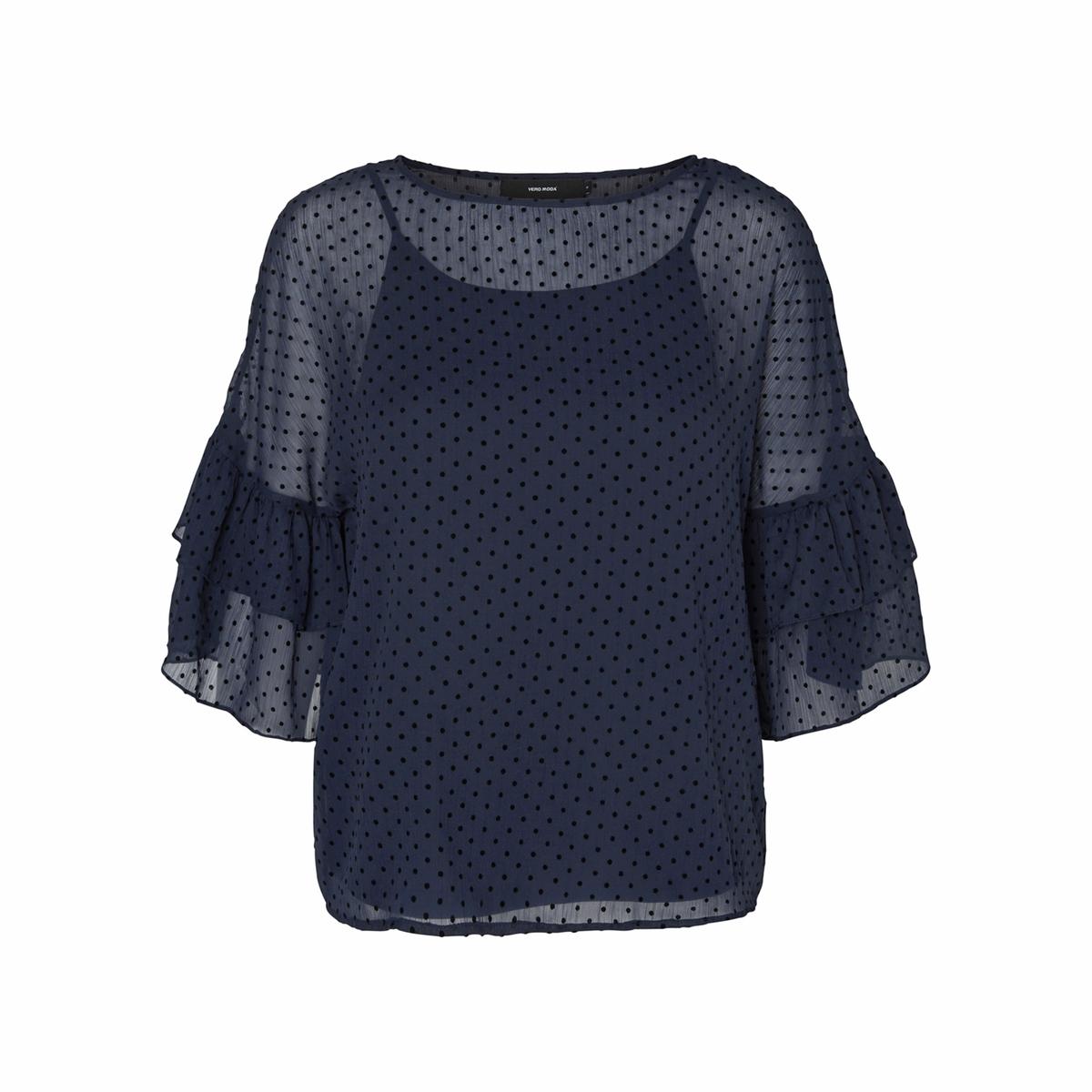 Блузка однотонная с круглым вырезом и длинными рукавамиДетали •  Длинные рукава •  Круглый вырезСостав и уход •  100% полиэстер •  Следуйте советам по уходу, указанным на этикетке<br><br>Цвет: синий морской<br>Размер: XS