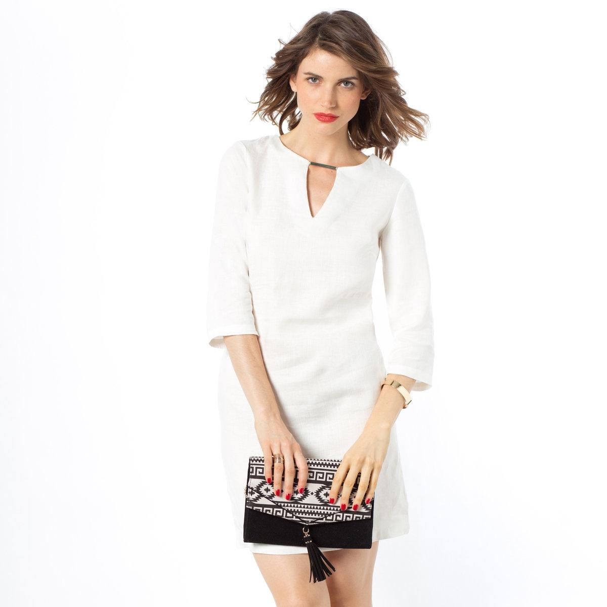 Платье прямого покроя с рукавами 3/4, 100% льна