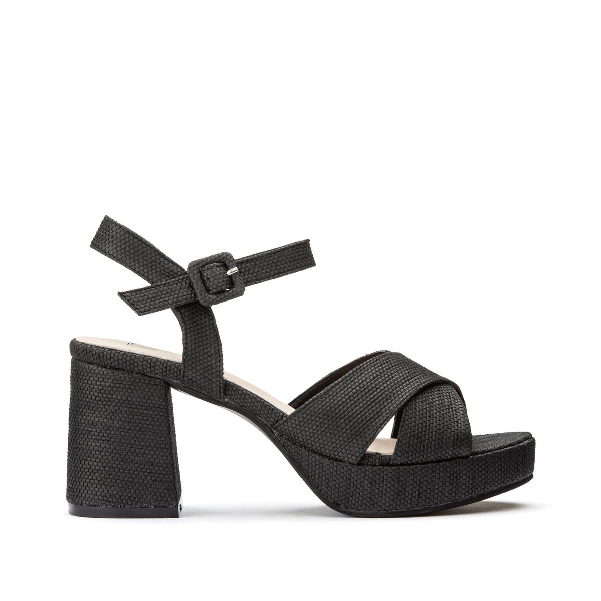 цена Босоножки La Redoute С ремешком на широком каблуке 38 черный онлайн в 2017 году