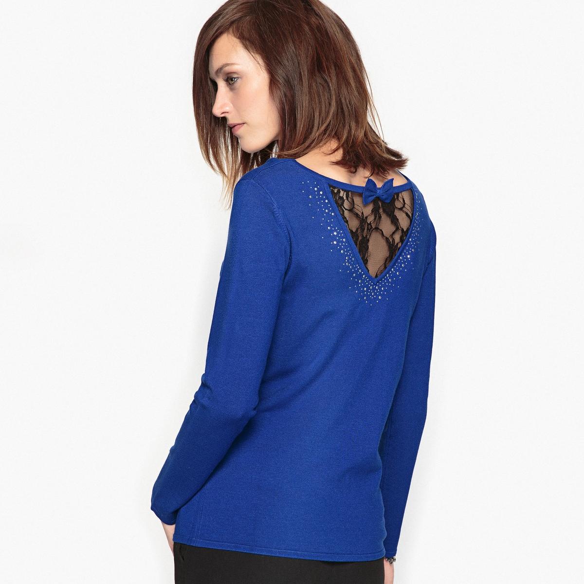Фото Пуловер с украшением из мягкого трикотажа. Купить с доставкой