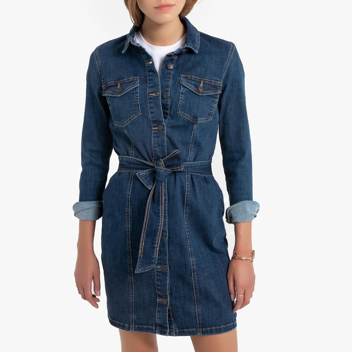 цена Платье-рубашка La Redoute Джинсовое с поясом XS синий онлайн в 2017 году
