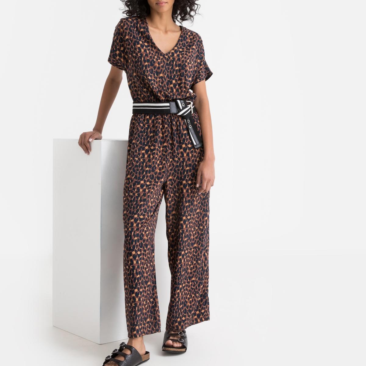 Комбинезон La Redoute С брюками с леопардовым рисунком 34 (FR) - 40 (RUS) фиолетовый комбинезон с брюками однотонный