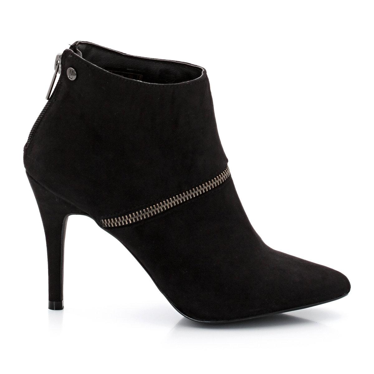 СапогиБренд: Elle. Верх: текстиль.Подкладка: кожа.Стелька: кожа.Подошва: синтетика..Высота каблука: 10 см..Молния сзади: Привлекательная и женственная модель. Сапоги ELLE.<br><br>Цвет: черный<br>Размер: 37.38