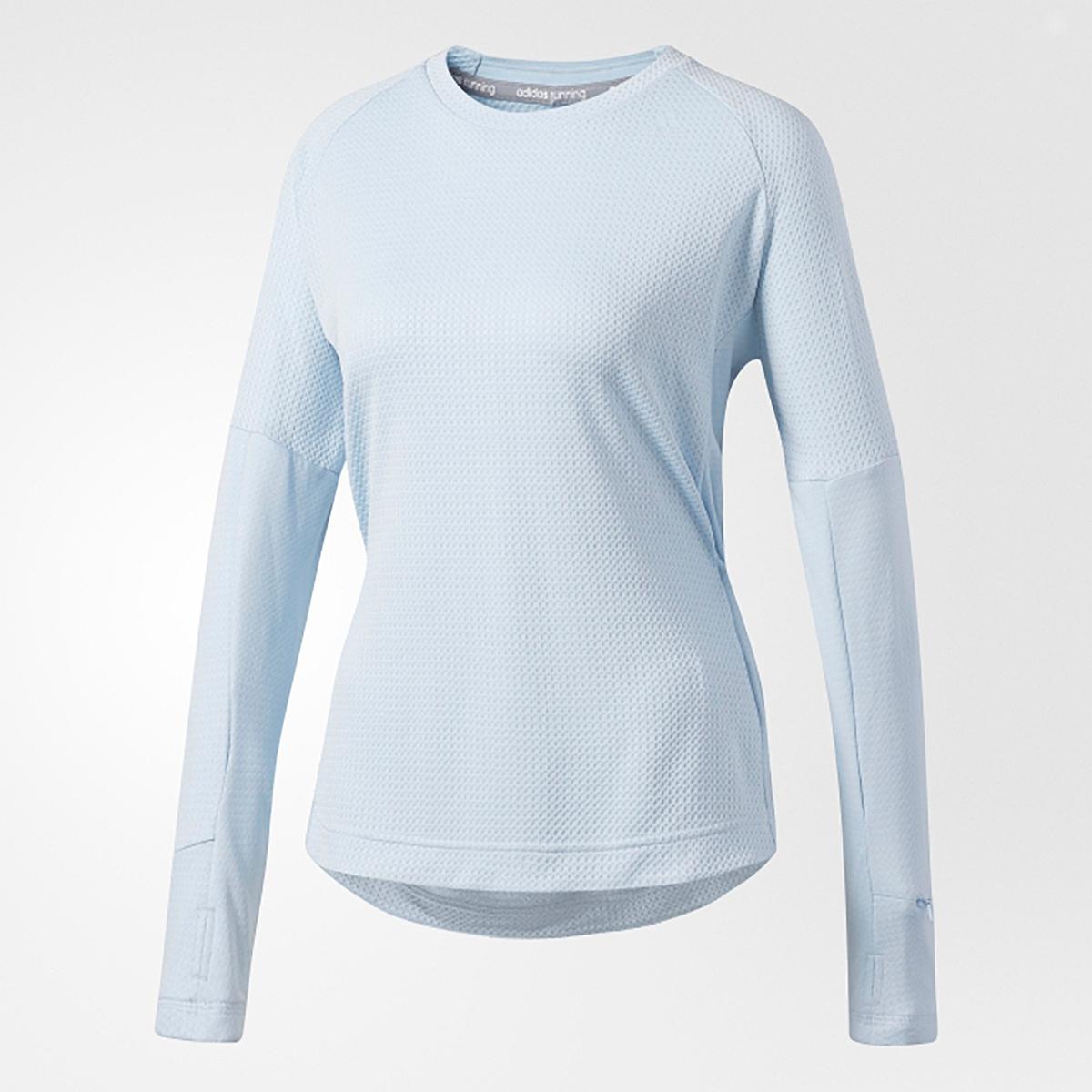 Camiseta lisa con cuello redondo, manga larga