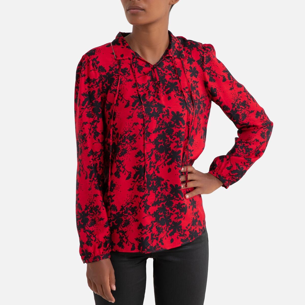 Фото - Блузка LaRedoute С рисунком и длинными рукавами 40 (FR) - 46 (RUS) красный блузка с рисунком и длинными рукавами для периода беременности