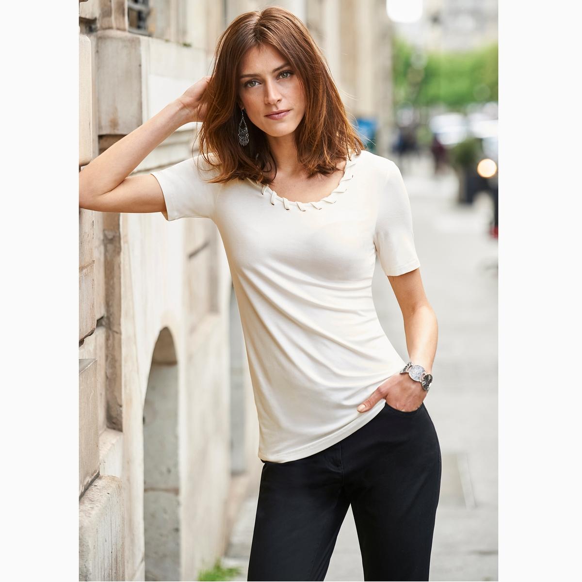 Imagen secundaria de producto de Camiseta con cuello fantasía, de punto ligero - Anne weyburn