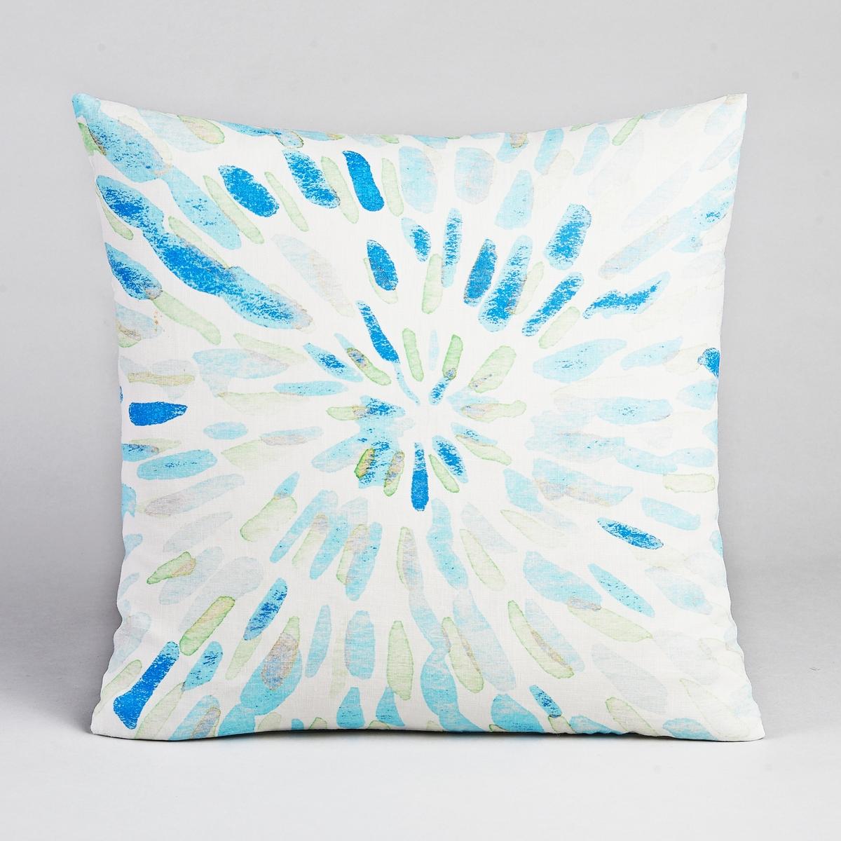 Чехол для подушки SiliЧехол для подушки из красивого стираного льна, с абстрактными мотивами с акварелью .Характеристики :- Из льна .- Застёжка на молнию.Размер :- 45 x 45 см.<br><br>Цвет: синий<br>Размер: 45 x 45  см