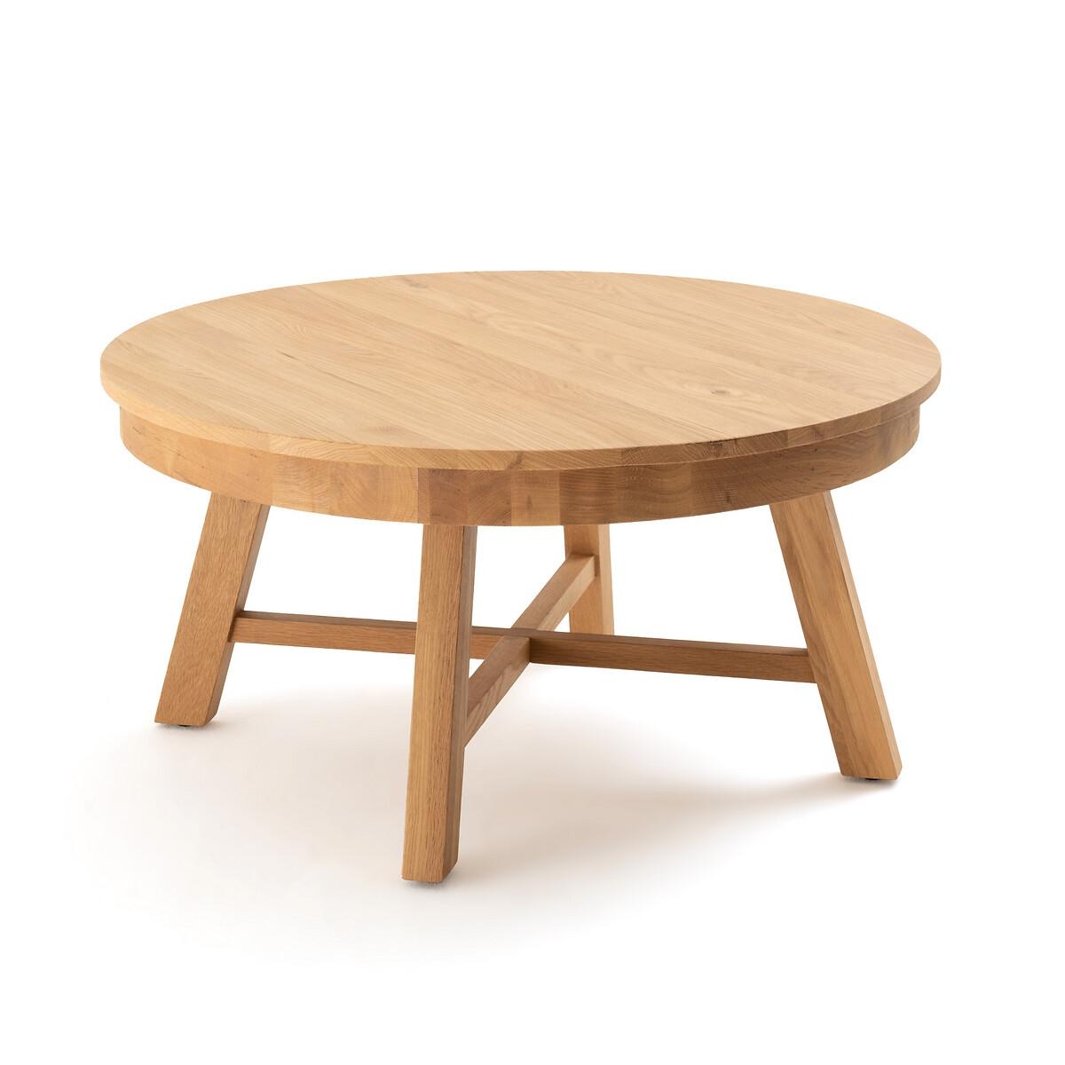Столик LaRedoute Журнальный круглый из массива дуба Zebarn единый размер каштановый