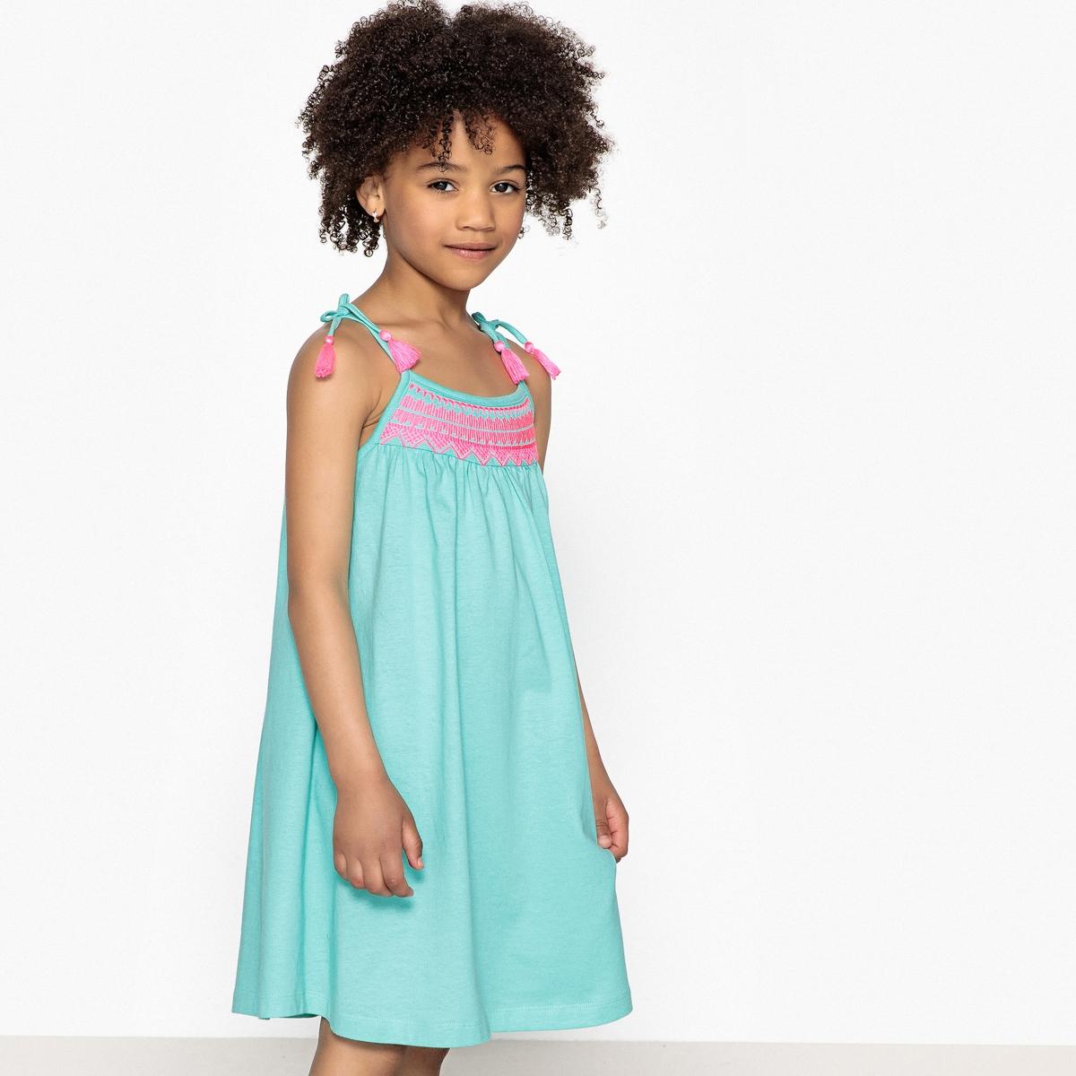 Платье на тонких бретелях с вышивкой 3-12 лет