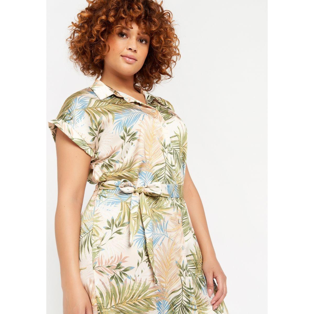 Robe chemise longue à imprimé végétal