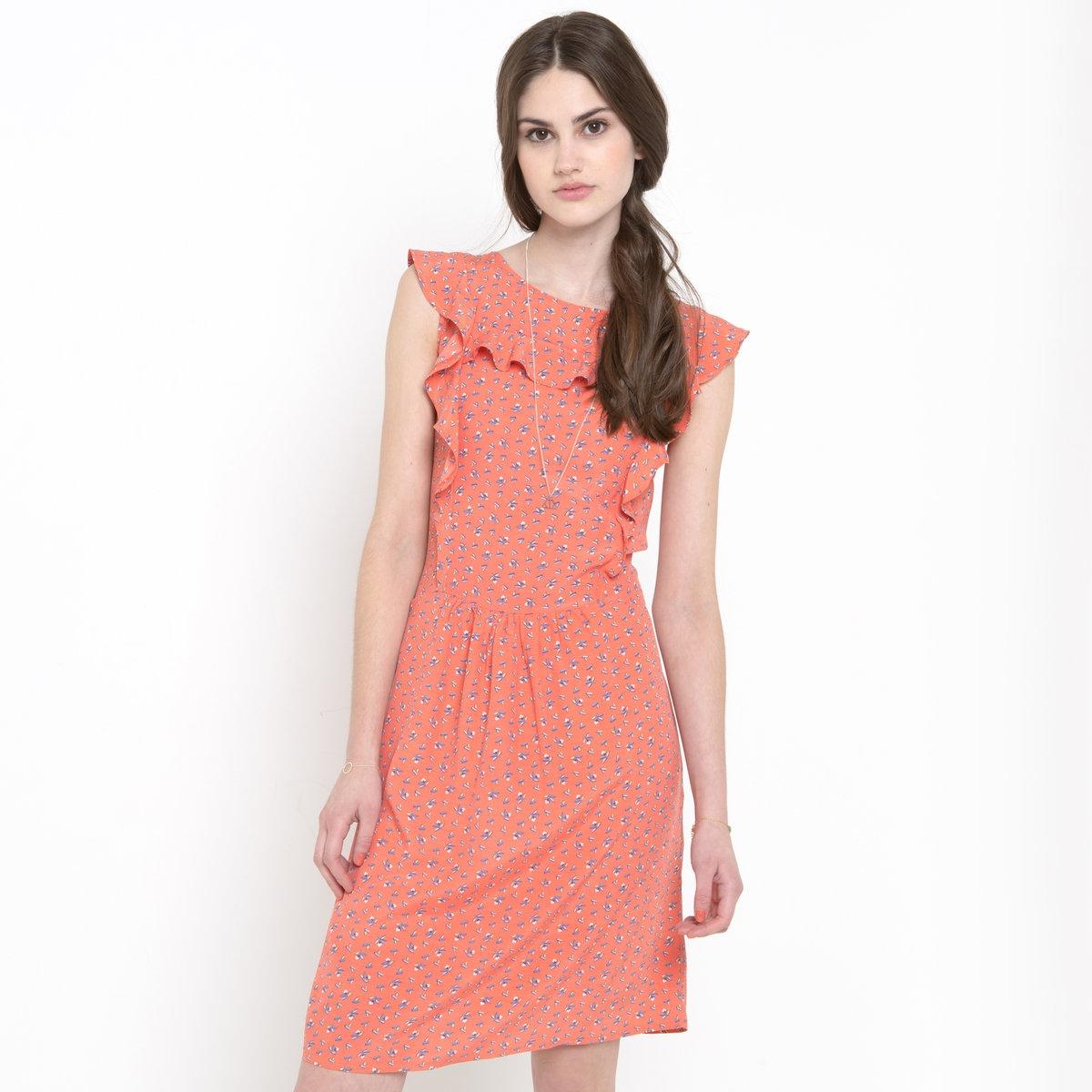 Платье с воланамиПлатье с воланами из 100% вискозы. Заниженная талия. Юбка на подкладке (100% вискозы). 2 кармана по бокам. Длина 90 см.<br><br>Цвет: набивной рисунок<br>Размер: 38 (FR) - 44 (RUS)