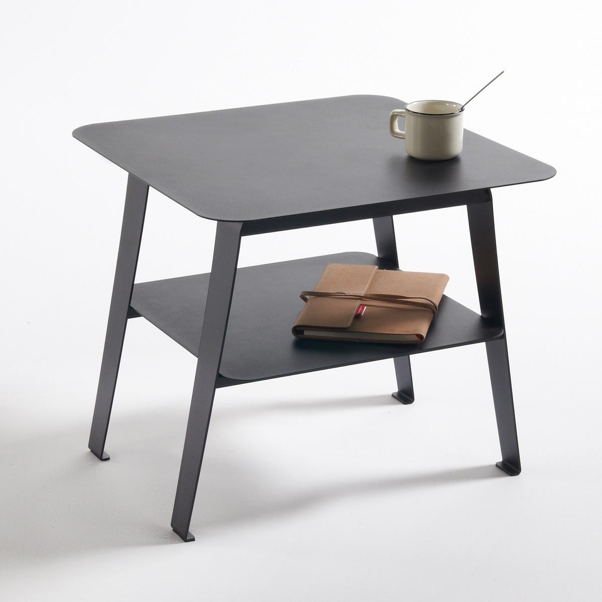 Столик диванный из стали, HibaДиванный столик из стали Hiba. Красивый дизайн, простой и практичный диванный столик из стали Hiba с 2 столешницами : в модном нео-индустриальном стиле, простая форма и веретенообразные ножки. Описание диванного столика Hiba :Две столешницы.Расположенные под небольшим углом ножки в стиле 50-х годов.Характеристики диванного столика Hiba :Матовая лакированная сталь, покрытие эпоксидной краской.Всю коллекцию Hiba вы можете найти на сайте laredoute.ruРазмеры диванного столика Hiba :Общие размерыШирина : 45 смВысота : 40 смГлубина : 45 смРазмеры и вес упаковки :1 упаковкаШ.59 x В.12,5 x Г.65,5 см9,5 кгДоставка:Доставка на этаж по предварительной записи!Внимание!Убедитесь в том, что размеры дверей, лестниц,лифтов позволяют доставить товар в упаковке до квартиры.<br><br>Цвет: черный
