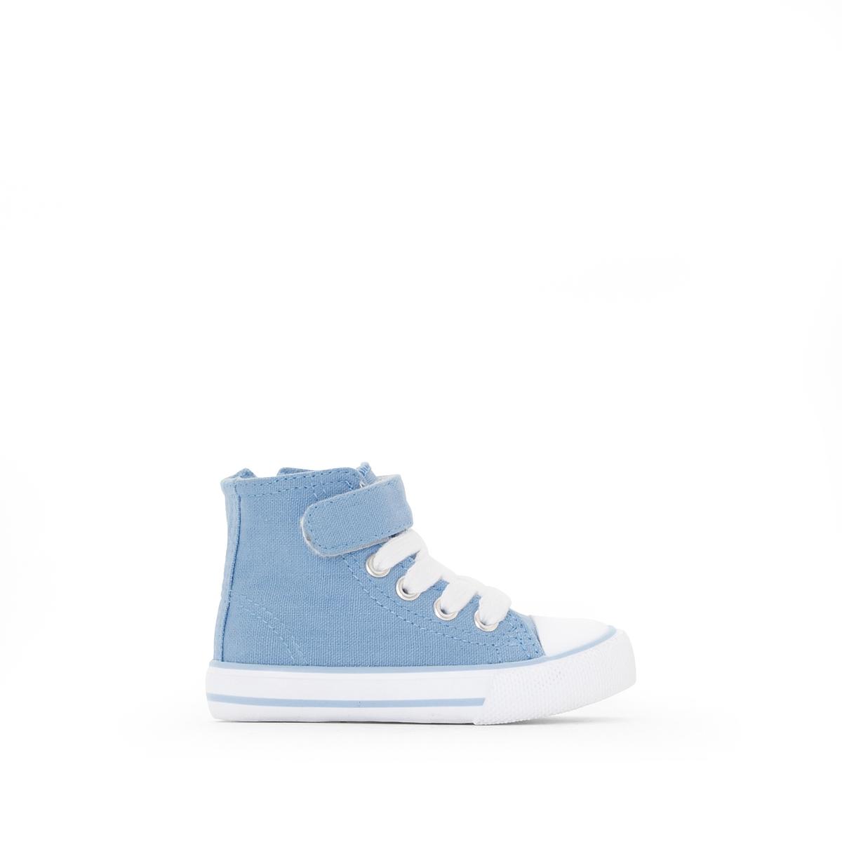 Кеды из тканиДетали  •  Кеды высокие •  Спортивный стиль •  Плоский каблук •  Застежка : без застежкиСостав и уход  • Верх 100% хлопок  •  Подкладка 100% хлопок<br><br>Цвет: небесно-голубой<br>Размер: 21.23