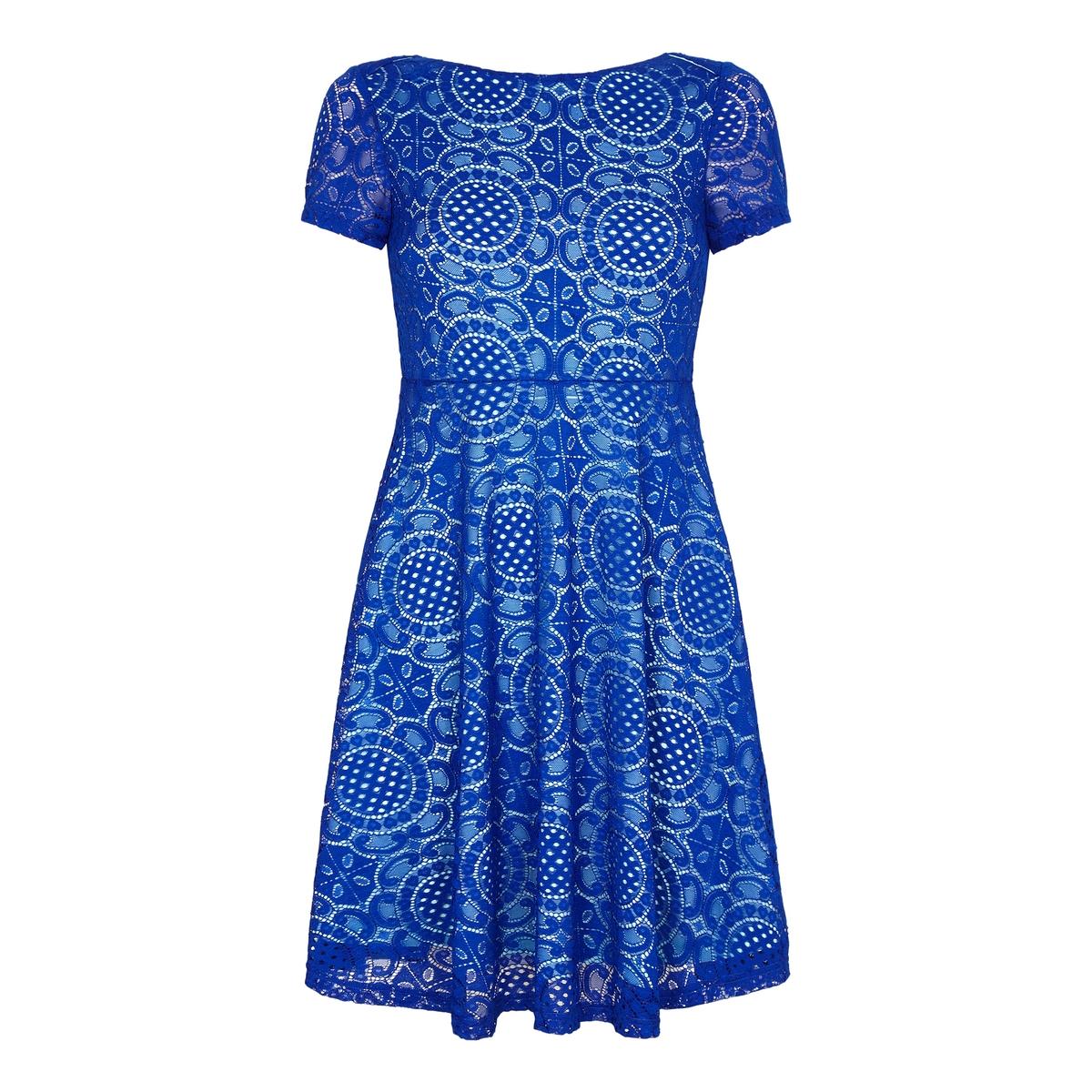 Платье с короткими рукавами из кружеваМатериал : 5% эластана, 95% полиэстера   Длина рукава : короткие рукава   Форма воротника : без воротника  Покрой платья : расклешенное платье  Рисунок : однотонная модель  Особенность материала : кружево   Длина платья : короткое<br><br>Цвет: кобальтовый синий
