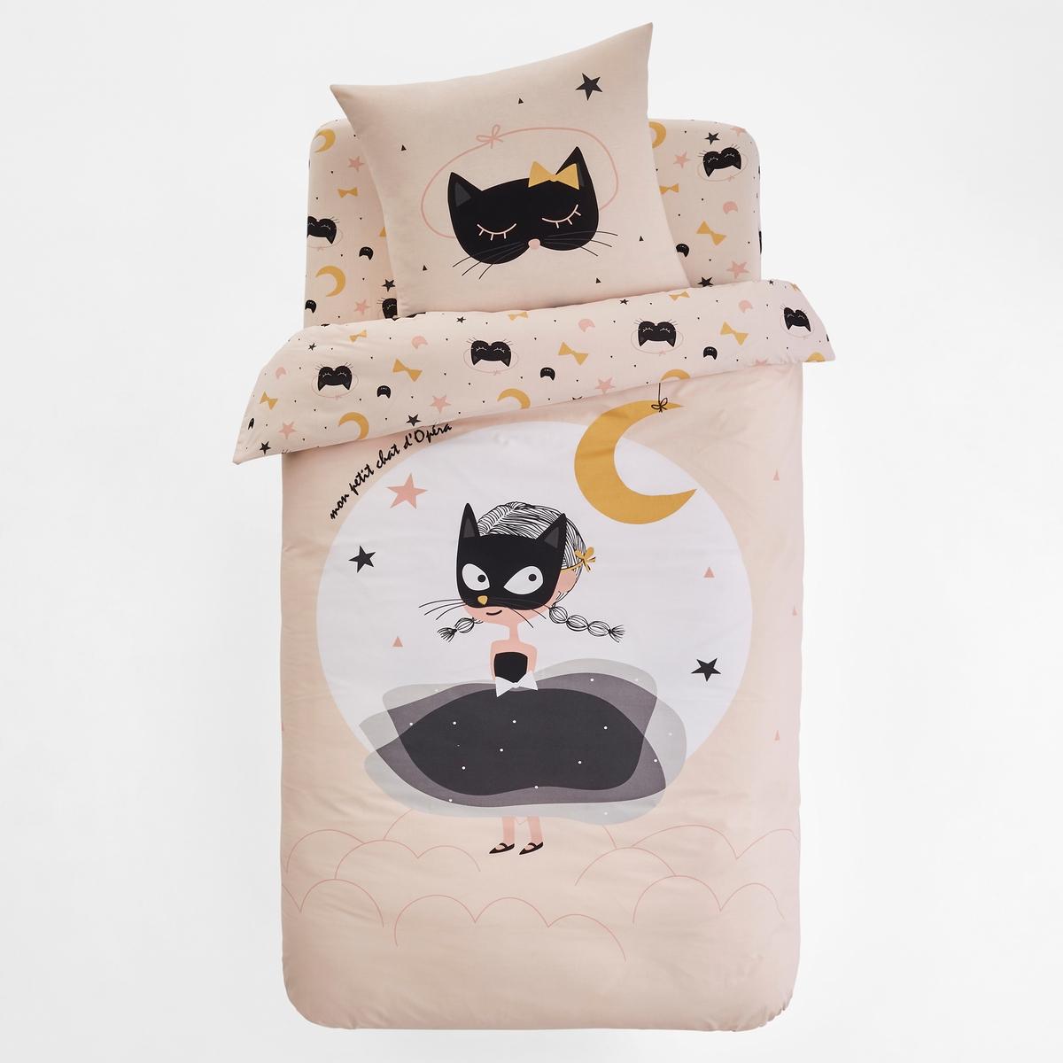 Bedruckter Kinder-Bettbezug CAT OPERA | Kinderzimmer > Kinderbetten | Rosa | Baumwolle - Bedruckt | La Redoute Interieurs