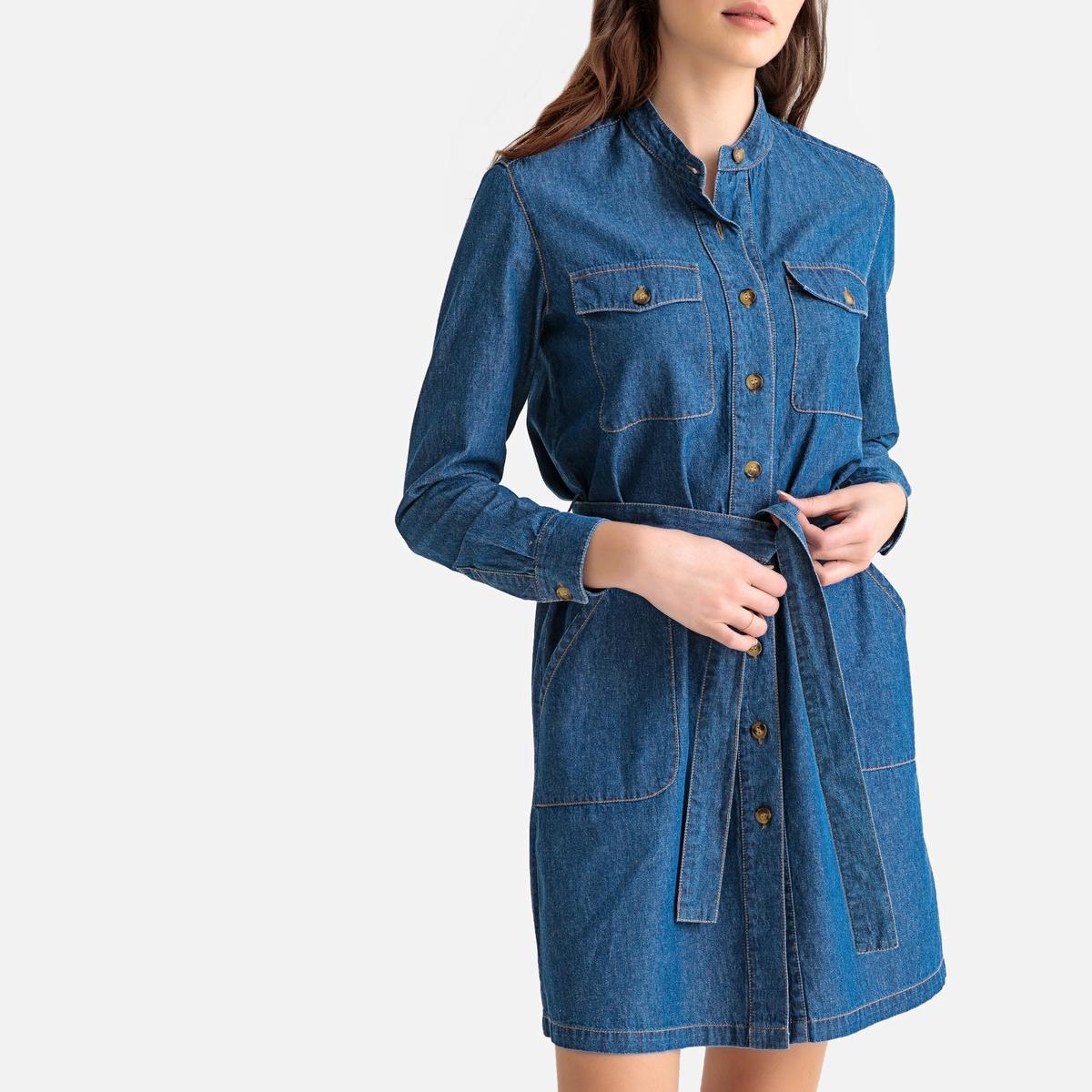 цена Платье-рубашка La Redoute Из денима с длинными рукавами 46 (FR) - 52 (RUS) синий онлайн в 2017 году