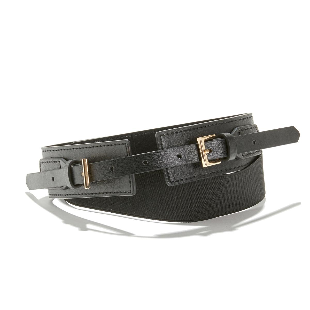 Cinturón ancho con doble hebilla