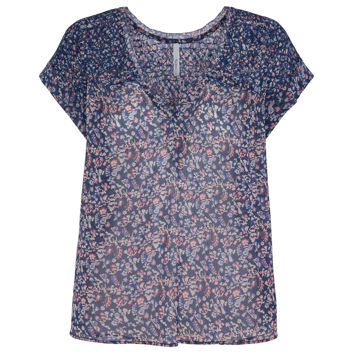 Blusa de mangas curtas, estampado florido
