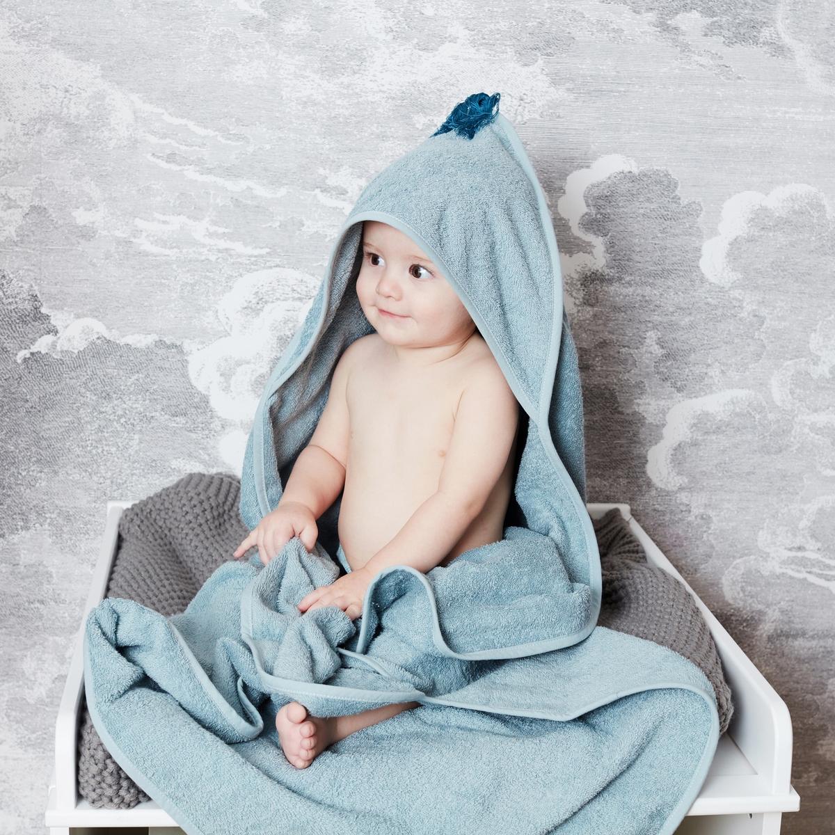 Mantella da bagno bébé con pompon cotone bio