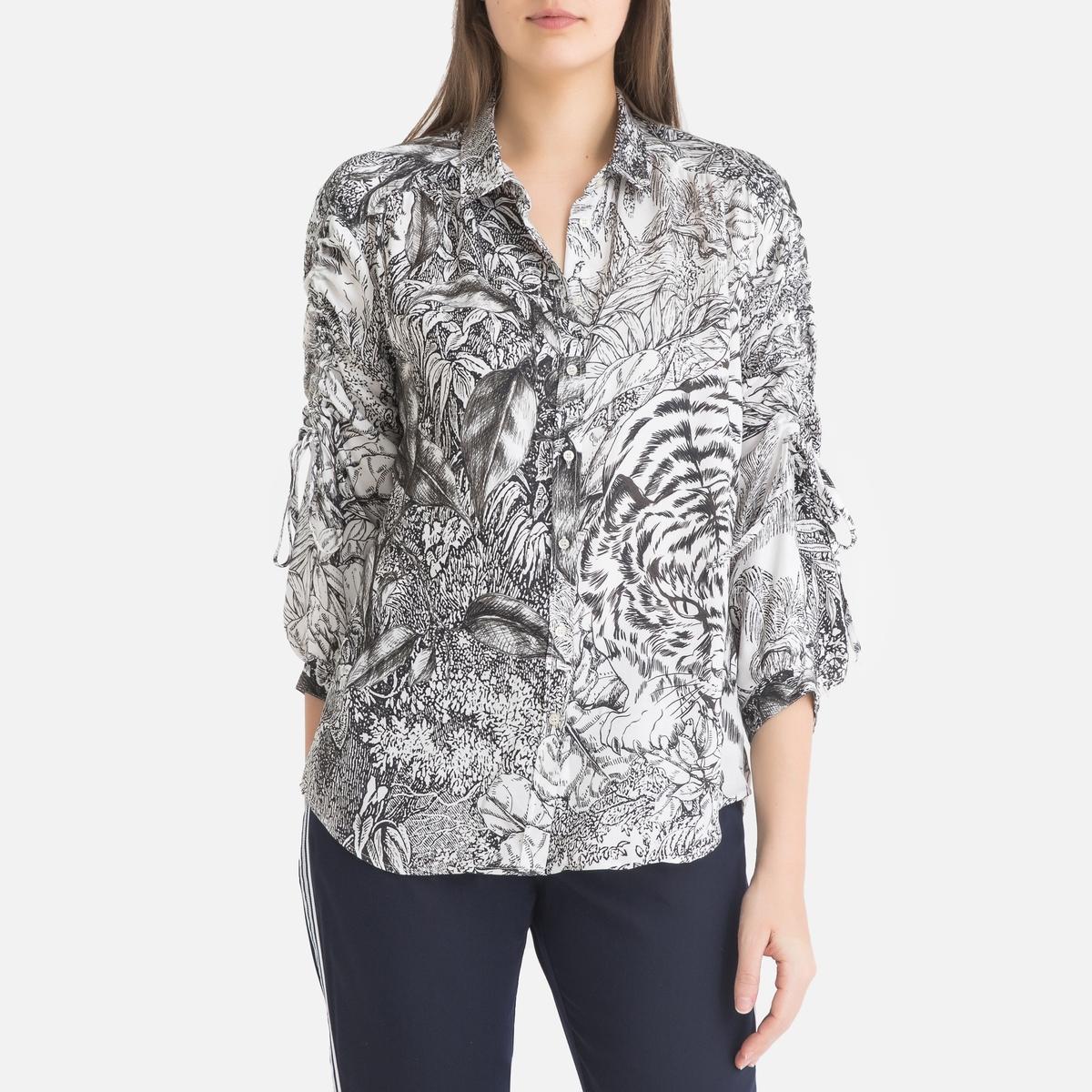 купить Рубашка La Redoute С принтом и длинными рукавами 40 (FR) - 46 (RUS) белый по цене 13199 рублей