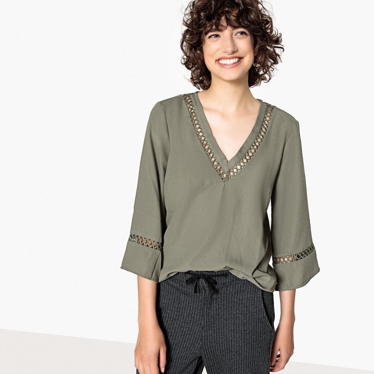 Блузка с v-образным вырезом из кружева, длинные рукава блузка с квадратным вырезом со вставкой из кружева