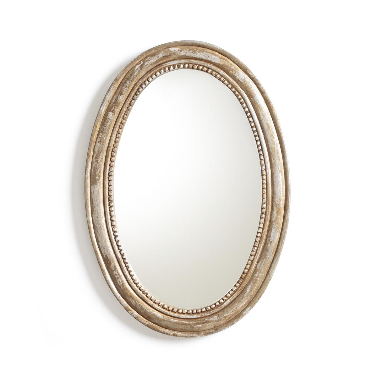 Зеркало овальное из массива мангового дерева, AFSANЗеркало, Afsan. Добавьте элегантную нотку в ваш интерьер благодаря этому стильному зеркалу. Его отделка багетом со стразами придаст очаровательный вид вашей гостиной, спальной комнате или прихожей.Характеристики зеркала Afsan :Из массива мангового дерева с отделкой золотистого цвета с эффектом старения.Рама - багет со стразами.2 пластины для фиксации на стене.- Винты и дюбели продаются отдельно.Найдите всю коллекцию зеркал на сайте laredoute.ru.Размеры зеркала Afsan :Ширина : 41,5 смВысота :  59,5 см .Толщина : 2,1 см.<br><br>Цвет: золотистый состаренный