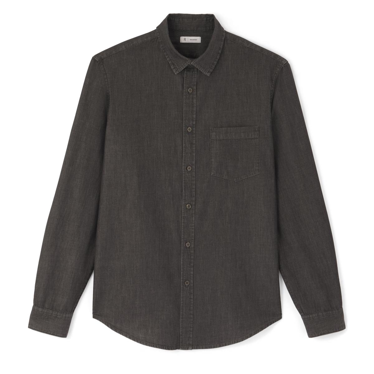 Рубашка джинсовая прямого покрояДетали •  Длинные рукава  •  Прямой покрой  •  Классический воротникСостав и уход •  100% хлопок  •  Температура стирки 40°  •  Сухая чистка и отбеливание запрещены    • Барабанная сушка на слабом режиме       •  Низкая температура глажки<br><br>Цвет: серый<br>Размер: 39/40.41/42.45/46.43/44.37/38