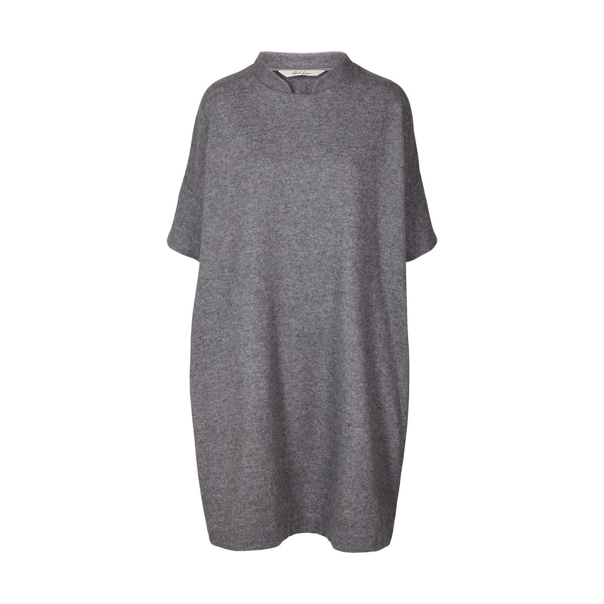 Платье свободного покроя из шерсти с короткими рукавами и стоячим воротником от AND LESS