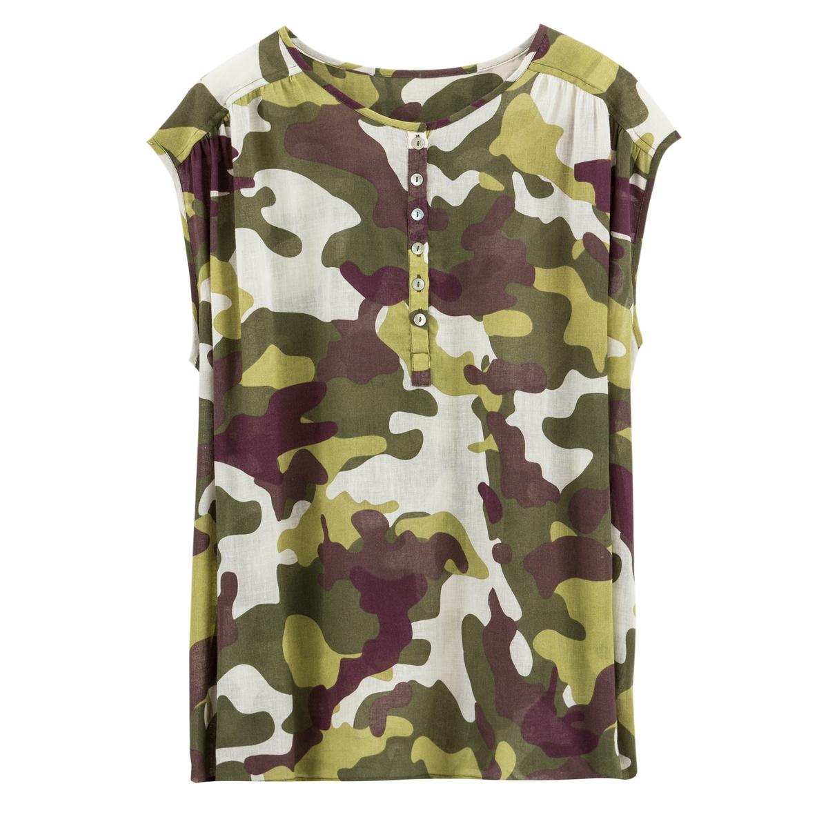 Blusa com botões, estampado camuflagem