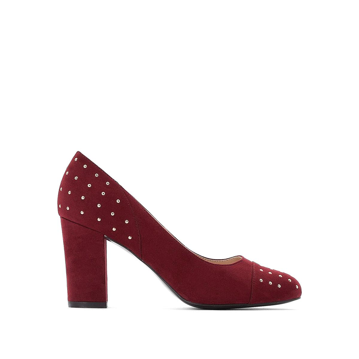 Туфли LaRedoute На высоком каблуке с заклепками 36 красный