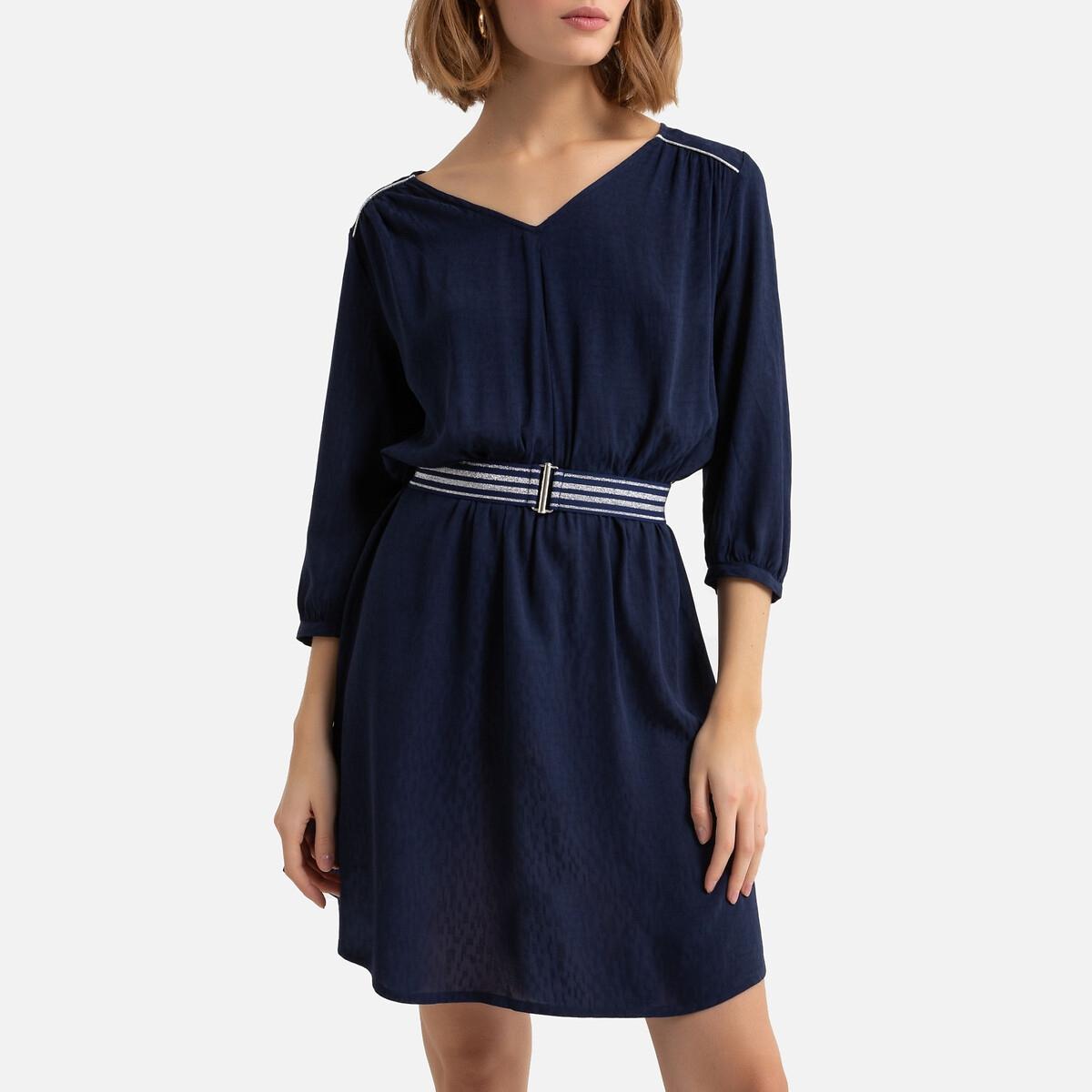цена Платье La Redoute Жаккардовое струящееся с ремешком рукава XS синий онлайн в 2017 году